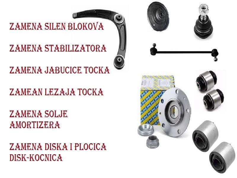 silen blokovi, amortizer, šolje amortizera, viljuške ili ramena, jabučice viljuške, krajevi letvi volana, stabilizatori i ležajevi